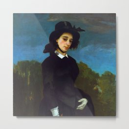 """Gustave Courbet """"Woman in a Riding Habit (L'Amazone)"""" Metal Print"""
