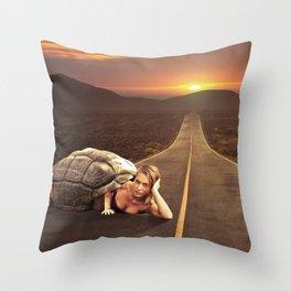 Hitchin a ride Throw Pillow