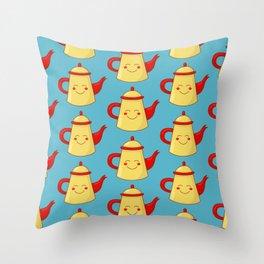 Tea pot smile Throw Pillow