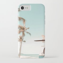 Retro Camper Van with Surfboard at the Beach iPhone Case