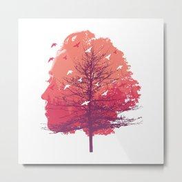 Women Art Tree Forest Face Birds Metal Print