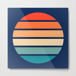 Retro Summer Sunset Stripes In Circle - Emiyo Metal Print