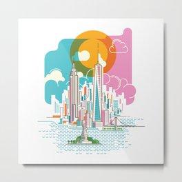 New York City Skyline Graphic Design Metal Print