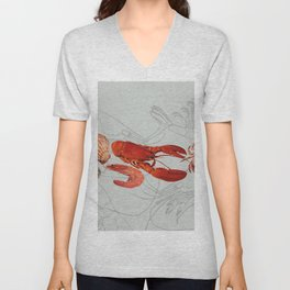 Seafood - Shell - Shrimp - Scallop grey Unisex V-Neck