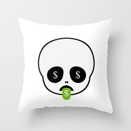 Cute skull with tongue out smile and dollar sign Throw Pillow