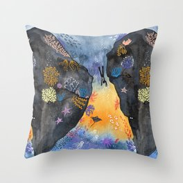Journey of the deep sea dweller watercolor illustration Throw Pillow