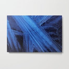 Cool Blue Ice Abstract #4, Frozen Pool Extreme Close-Up Metal Print