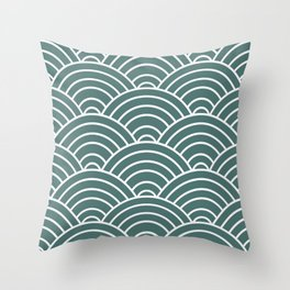 Teal Japanese Seigaiha Wave Throw Pillow
