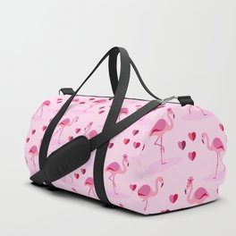 Pink Flamingos in Love pattern Duffle Bag
