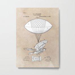 patent art Spalding Flying Machine 1889 Metal Print