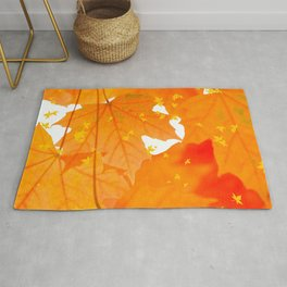 Fall Orange Maple Leaves On A White Background #decor #society6 #buyart Rug