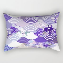 Nature background with japanese sakura flower, Cherry, wave circle. Ultra Violet Color of the Year Rectangular Pillow