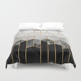 Charcoal Hexagons Duvet Cover