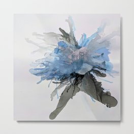 Ink Flower Blue Metal Print