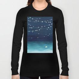 Garlands of stars, watercolor teal ocean Long Sleeve T-shirt