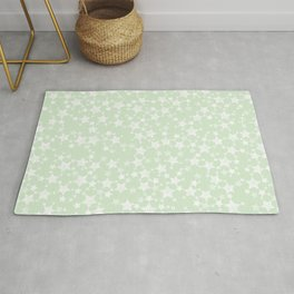 Magical Mint Green and White Stars Pattern Rug