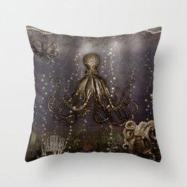 Octopus' lair - Old Photo Throw Pillow
