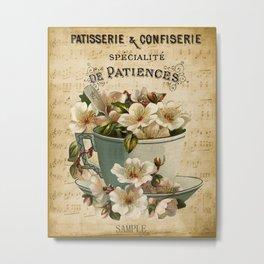 Paris -  French -  Patisserie - Vintage -  Cup -  Flower -  France - Vintage illustration. Retro décor. Metal Print