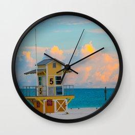 Beach Sunrise Lifeguard Hut Tall Print Wall Clock