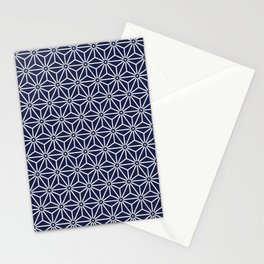 Japanese Yukata Jinbei Asanoha Navy blue Stationery Cards