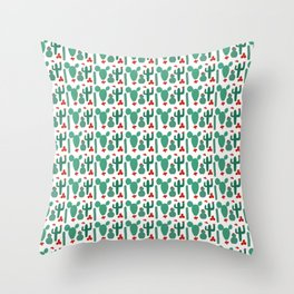 Small Green Cactus Shapes with Red Cactus Flowers Throw Pillow