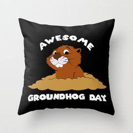 Awesome Groundhog Day - Holiday Celebration Gift Throw Pillow