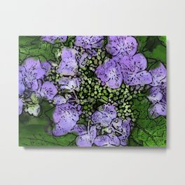 Purple Hydrangea Stylized Abstract Metal Print