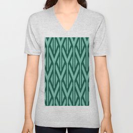Triangles pattern Stripes geometry Graphic - Turquoise Unisex V-Neck