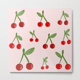 Cute Cherry Pattern Metal Print