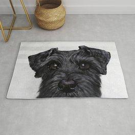 Black Schnauzer Dog illustration original painting print Rug
