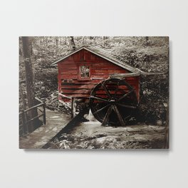 Rustic Old Red Mill Water Wheel Modern Farmhouse Country Art A470 Metal Print