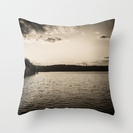 Sundown At Lake Heve 2 sepia Throw Pillow