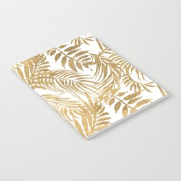 Elegant tropical gold white palm tree leaves floral Notebook