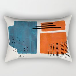 Burnt Orange Jewel Teal Blue Mid Century Modern Funky Colorful Shapes Patterns by Ejaaz Haniff Rectangular Pillow