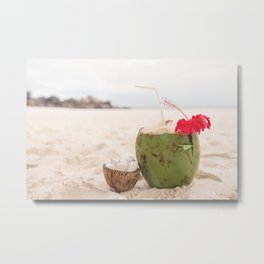 Coconut drink at the beach Metal Print