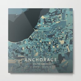 Anchorage, United States - Cream Blue Metal Print