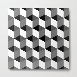 Geometric Optical Illusion Cube Art Metal Print