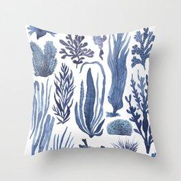 Blue Seaweeds Throw Pillow
