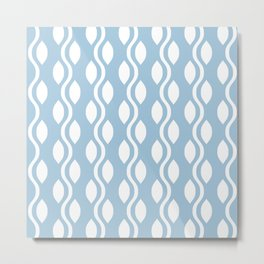 Retro Ogee Pattern 473 Light Blue Metal Print