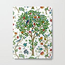 William Morris Tree of Life Pattern, Green & Multi Metal Print