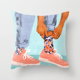 Pull Up Those Pretty Socks! #painting #illustration Throw Pillow