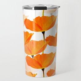 Orange Poppies On A White Background #decor #society6 #buyart Travel Mug
