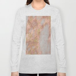 Rose Gold Marble with Yellow Gold Glitter Long Sleeve T-shirt