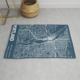 Portland Blueprint Street Map, Portland Colour Map Prints Rug