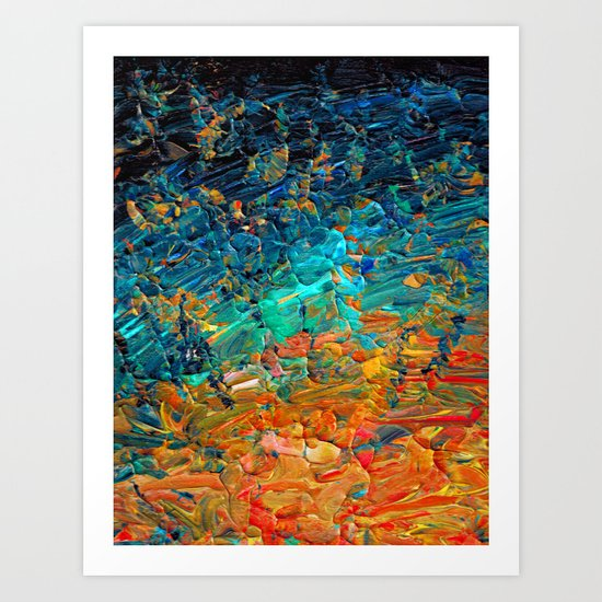 ETERNAL TIDE 2 Rainbow Ombre Ocean Waves Abstract Acrylic Painting Summer Colorful Beach Blue Orange by ebiemporium