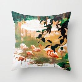 Flamingo Sighting #painting #wildlife Throw Pillow