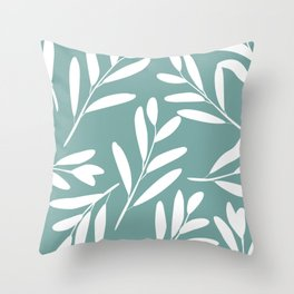 Prints of Leaves, White on Turquoise, Coloured Prints Throw Pillow