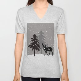 Winter Trees with Snowflakes and Reindeer Unisex V-Neck