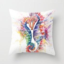 Sanguine Seahorses Throw Pillow