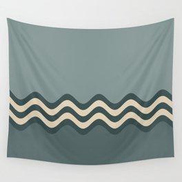 Night Watch & Alpaca Wool Cream Wavy Horizontal Stripes on Juniper Berry & Scarborough Green Wall Tapestry